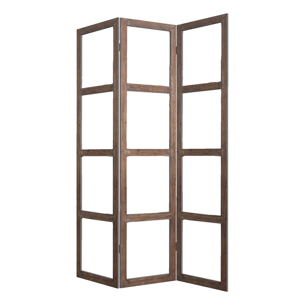 Glass 7 Ft Brown 3 Panel Room Divider Sg 241 The Home Depot
