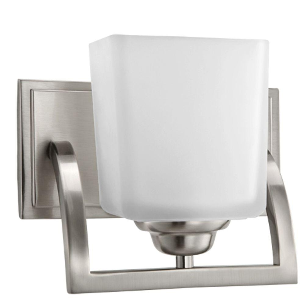 Hampton bay cankton 1 light brushed nickel bath vanity for Brushed nickel lighting for bathroom
