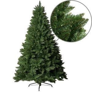 6 ft. Unlit Spruce Artificial Christmas Tree with Hinged Branches and Foldable Metal Stand for Easy Storage