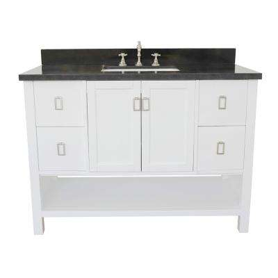 Monterey 49 in. W x 22 in. D Bath Vanity in White with Granite Vanity Top in Black with White Rectangle Basin