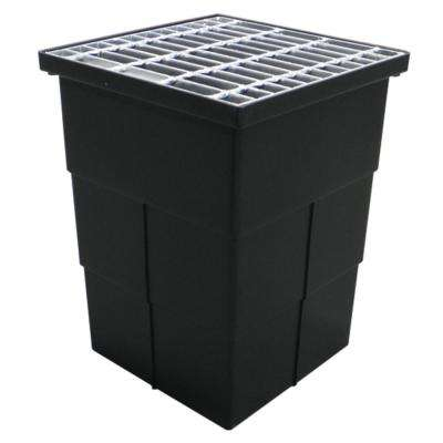 18 in. x 14 in. Storm Water Pit and Catch Basin for Modular Trench and Channel Drain Systems with Galvanized Steel Grate
