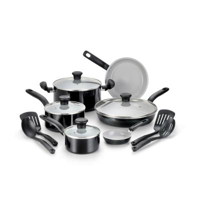 Initiatives 14-Piece Aluminum Ceramic Nonstick Cookware Set in Black