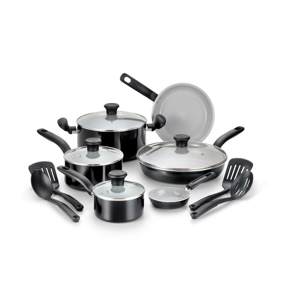 Initiatives 14-Piece Aluminum Ceramic Nonstick Cookware Set in Black