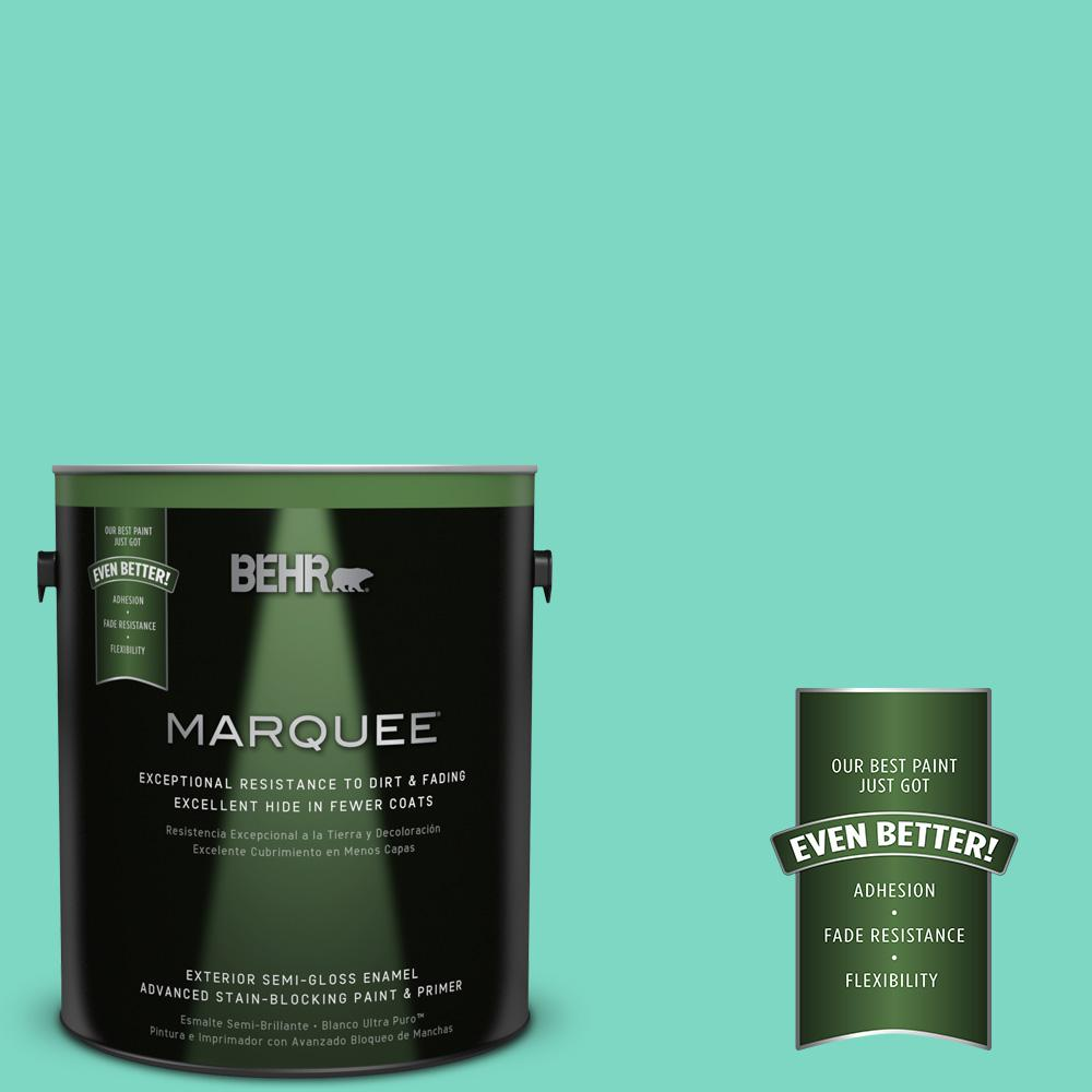 BEHR MARQUEE 1-gal. #480A-3 Mint Majesty Semi-Gloss Enamel Exterior Paint