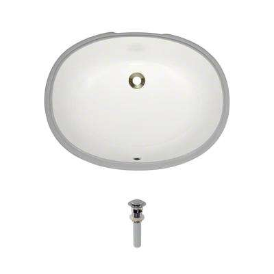 Undermount Porcelain Bathroom Sink in Biscuit with Pop-Up Drain in Chrome