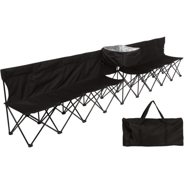 13.5 ft. Black Portable 8-Seater Folding Team Sports Sideline Bench (Attached Cooler)