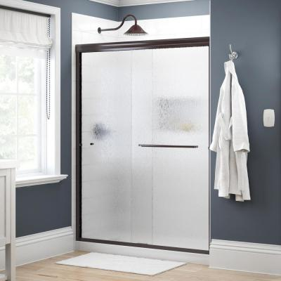 Simplicity 60 in. x 70 in. Semi-Frameless Traditional Sliding Shower Door in Bronze with Rain Glass