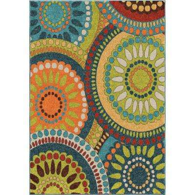 Pinwheel Green 5 ft. x 8 ft. Indoor Area Rug