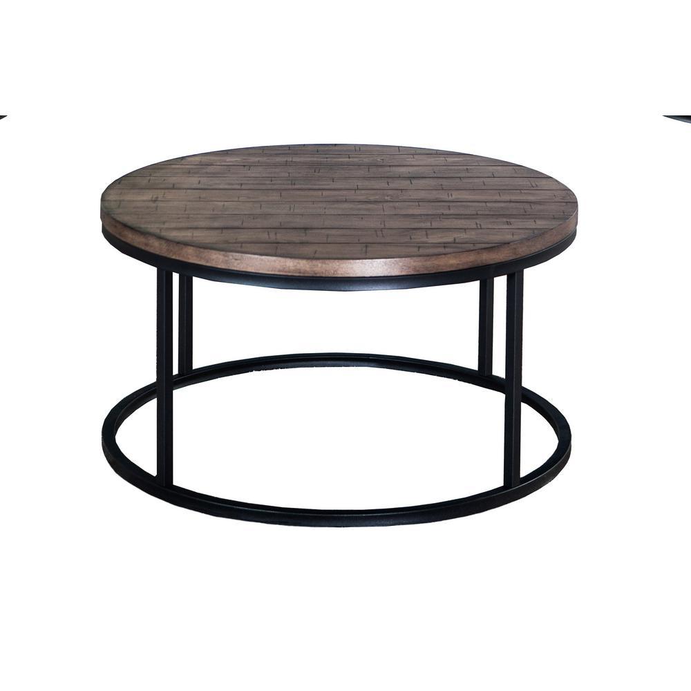 36 in. Brown Medium Round Wood Coffee Table with Metal Legs