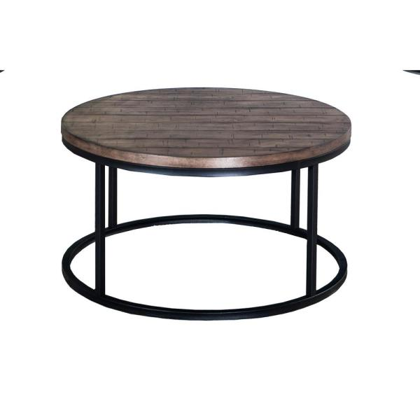 Lane 36 In Brown Medium Round Wood Coffee Table With Metal Legs 7328 45 The Home Depot