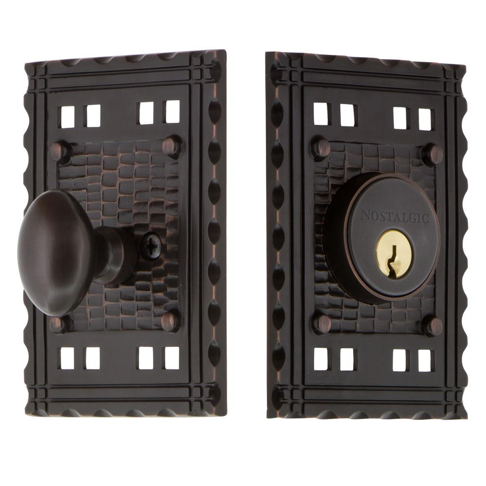 Craftsman Plate 2-3/8 in. Backset Single Cylinder Deadbolt in Timeless Bronze