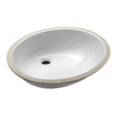 Caxton Vitreous China Undermount Bathroom Sink with Glazed Underside in White with Overflow Drain