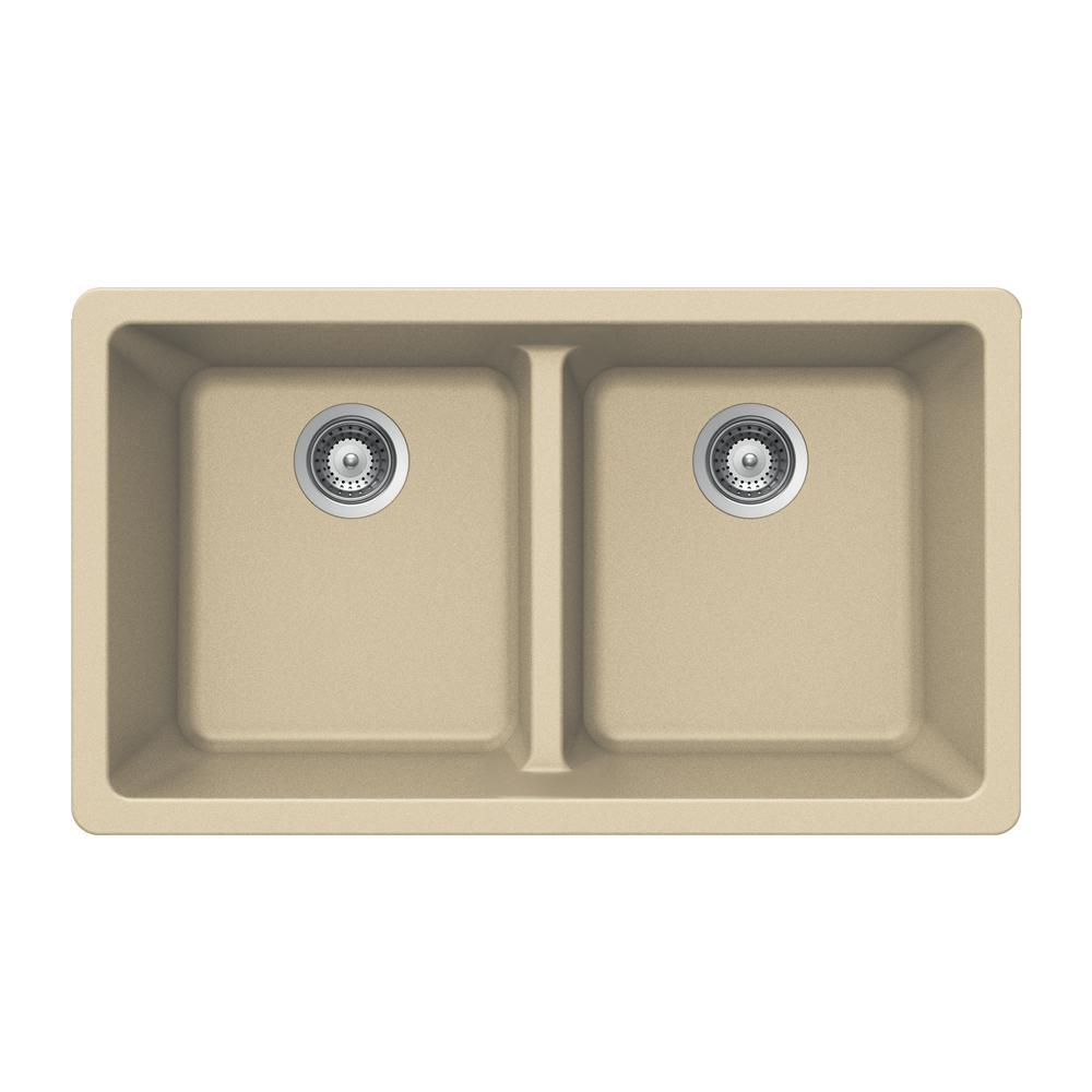 Quartztone Undermount Granite Composite 33 in. Double Bowl Kitchen Sink in Sand