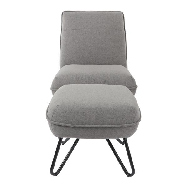 Cortina Grey Chair and Ottoman with Black Legs