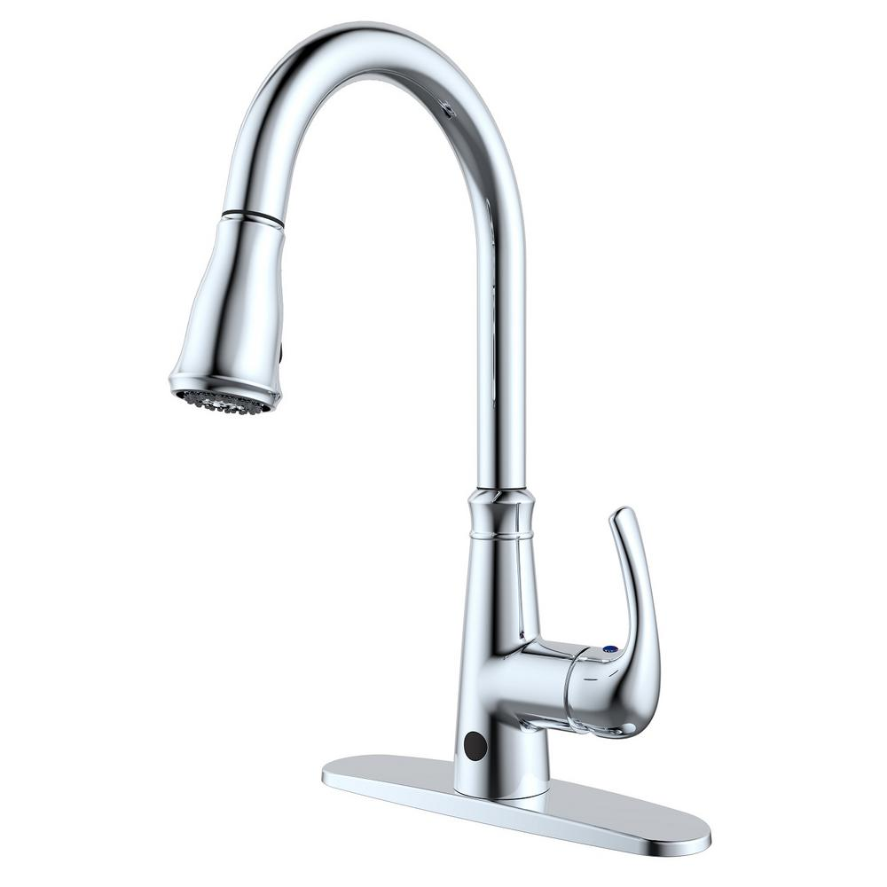 Runfine Single-Handle Pull-Down Sprayer Kitchen Faucet with Hands-Free  feature in Chrome
