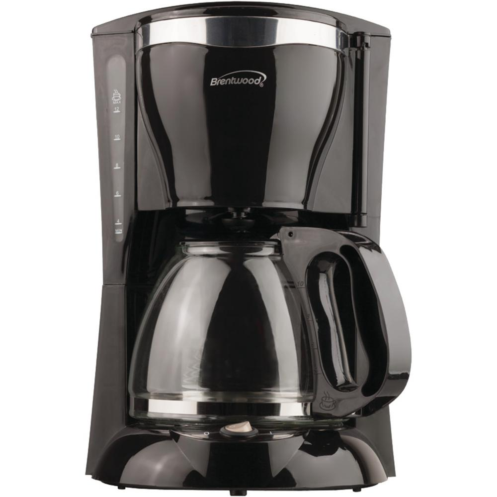 Black Coffee Maker The 900-Watt Brentwood Appliances TS-217 12-Cup Coffee Maker makes the ideal pot of coffee. Simply place your grounds, add water and hit the power button. This black coffee maker features a programmable timer, pause-and-serve function and automatic shutoff when dry. The warming plate keeps your coffee hot when not being consumed and you'll save money with the reusable filter basket. This coffee maker is BPA-free and easy to clean.