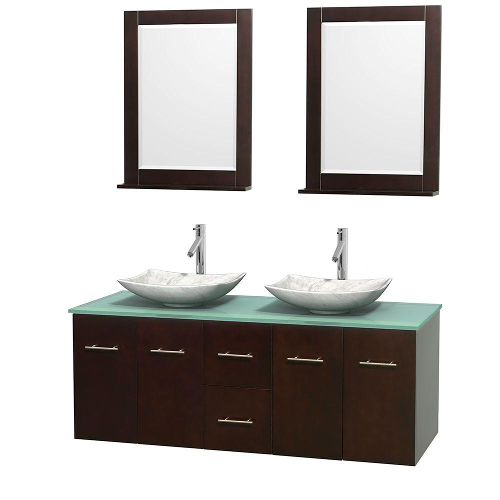 Wyndham Collection Centra 60 in. Double Vanity in Espresso with Glass Vanity Top in Green, Carrara White Marble Sinks and 24 in. Mirrors