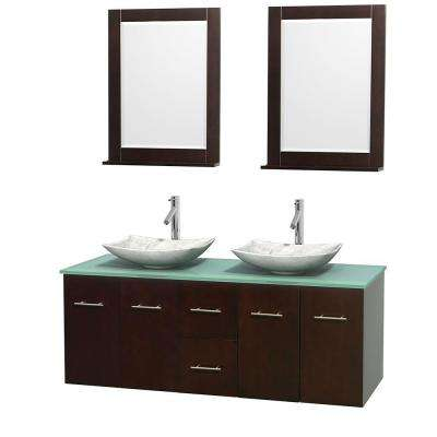 Centra 60 in. Double Vanity in Espresso with Glass Vanity Top in Green, Carrara White Marble Sinks and 24 in. Mirrors