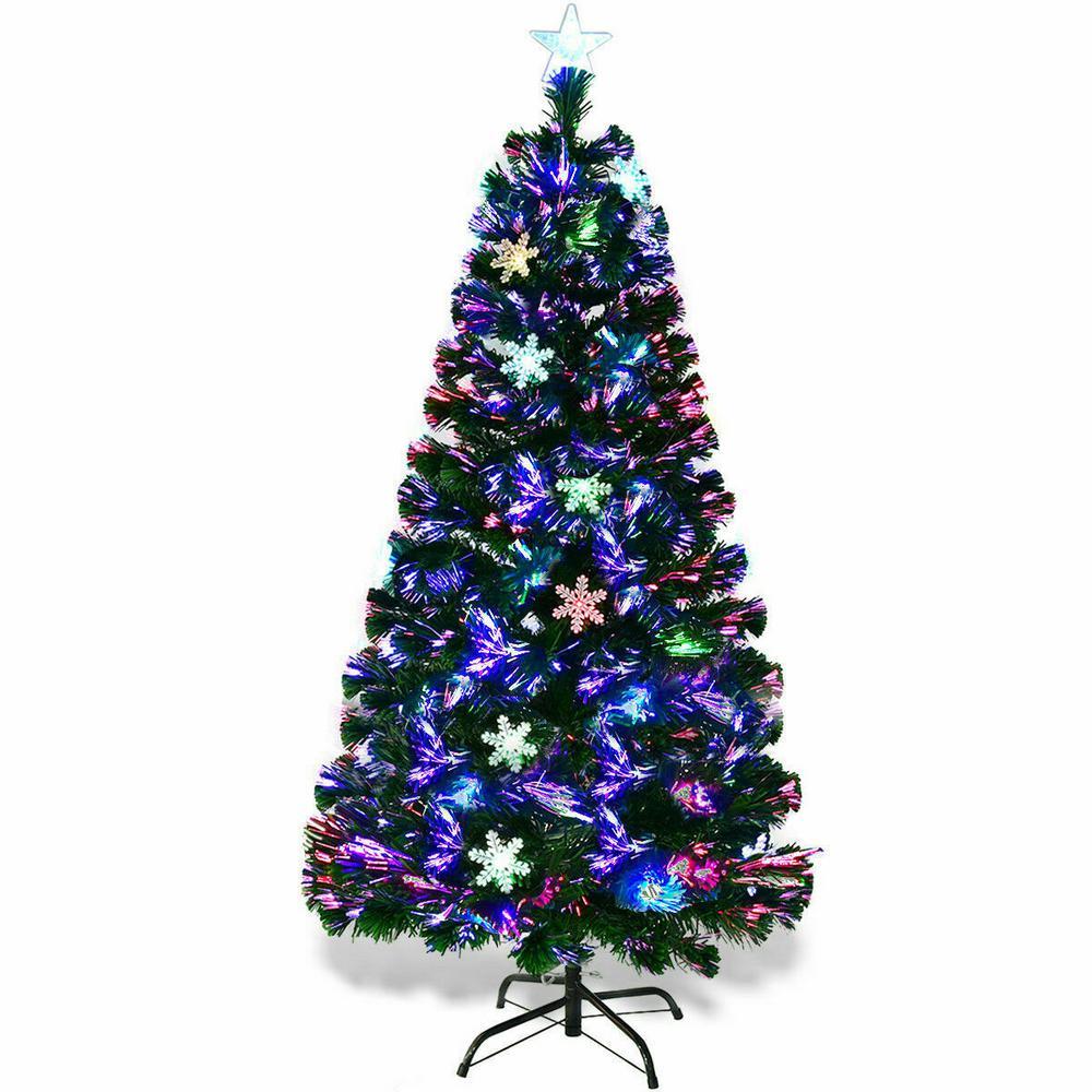 7 5 Foot Artificial Christmas Tree Multi Colored Lights: Costway 7 Ft. Pre-Lit Artificial Christmas Tree Fiber