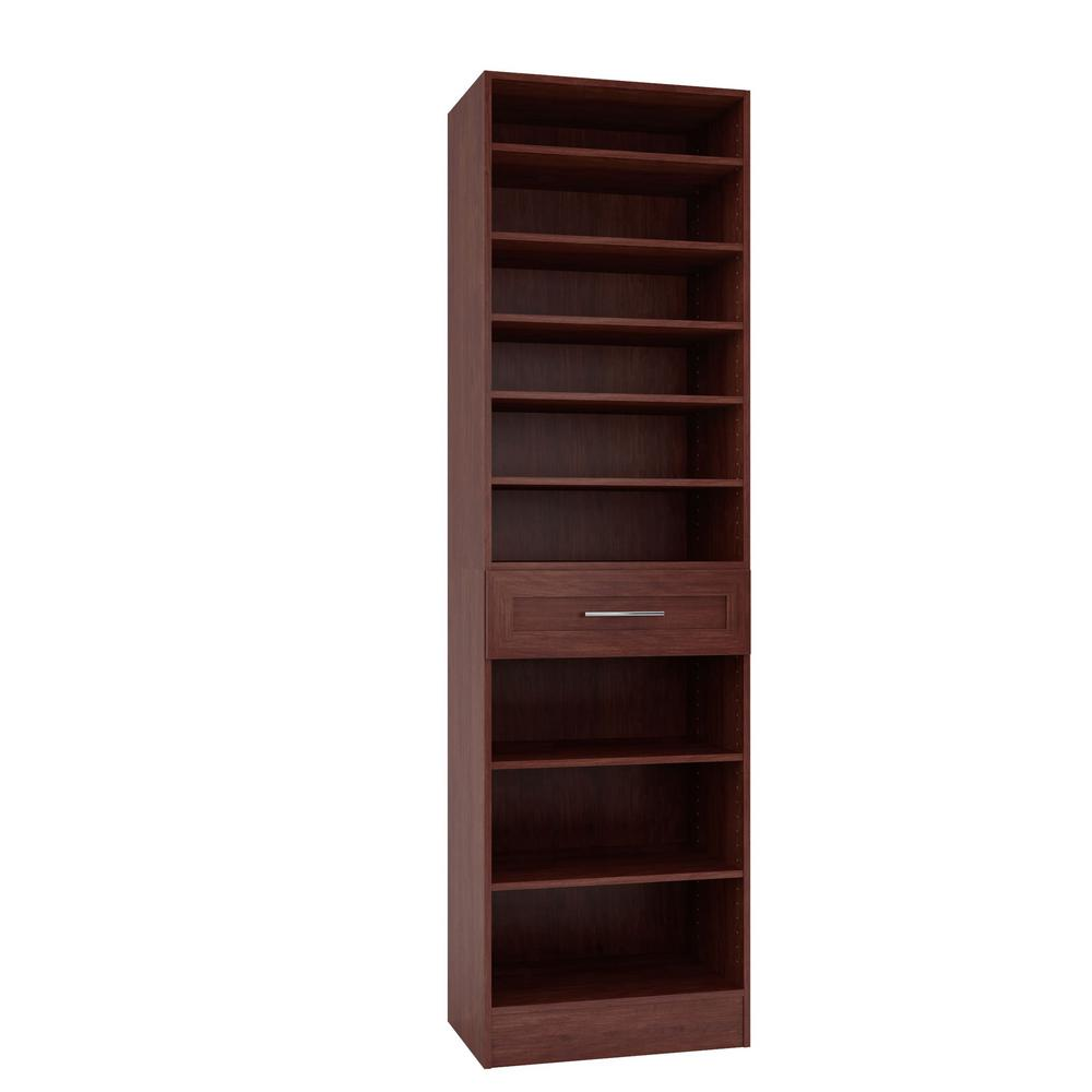 Home Decorators Collection 15 in. D x 24 in. W x 84 in. H Bergamo Cherry Melamine with 9-Shelves and Drawer Closet System Kit