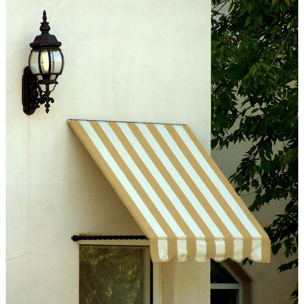 AWNTECH 18 ft. Santa Fe Twisted Rope Arm Window Awning (24 in. H x 12 in. D) in Linen/White Stripe