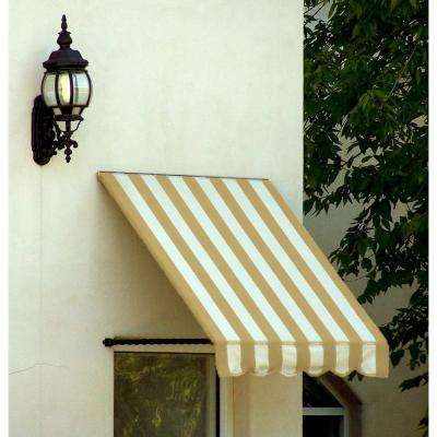 10 ft. Santa Fe Twisted Rope Arm Window Awning (44 in. H x 24 in. D) in Linen/White Stripe