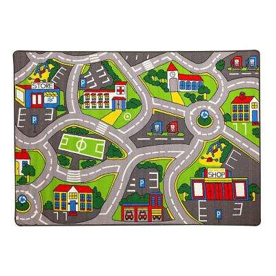 Paradise Street Map Design Gray 4 Ft. 11 In. X 6 Ft. 10