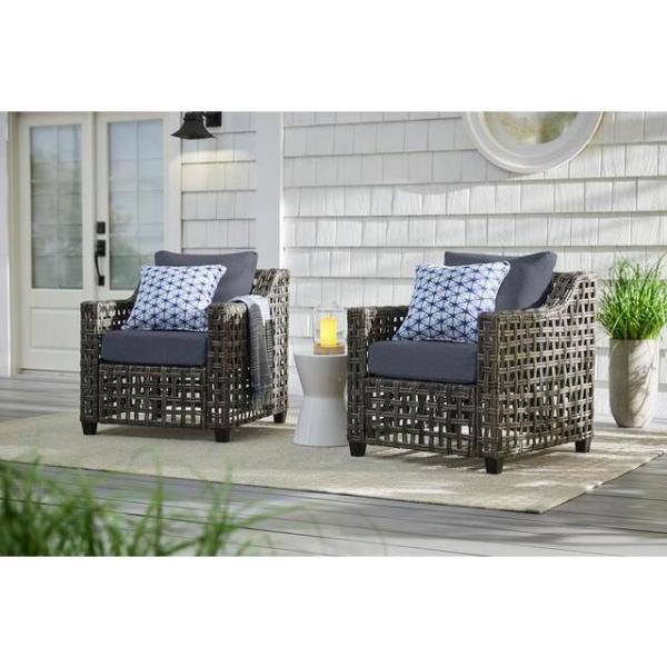 Briar Ridge Brown Wicker Outdoor Patio Deep Seating Lounge Chair with CushionGuard Sky Blue Cushions (2-Pack)