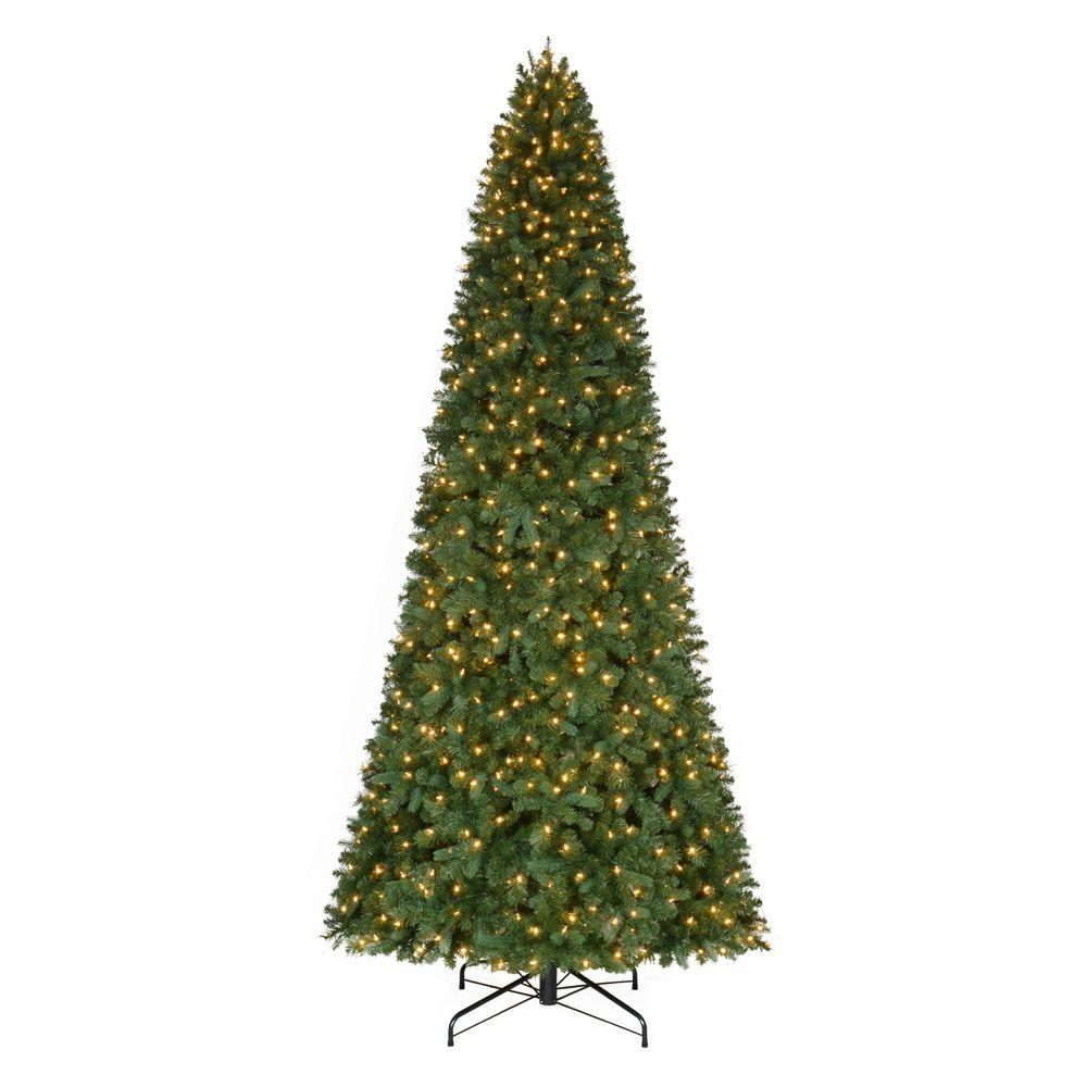 home accents holiday 12 ft pre lit led morgan pine quick set artificial - 12 Ft Artificial Christmas Trees