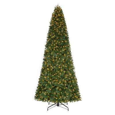 12 ft. Pre-Lit LED Morgan Pine Quick-Set Artificial Christmas Tree with Warm White Lights