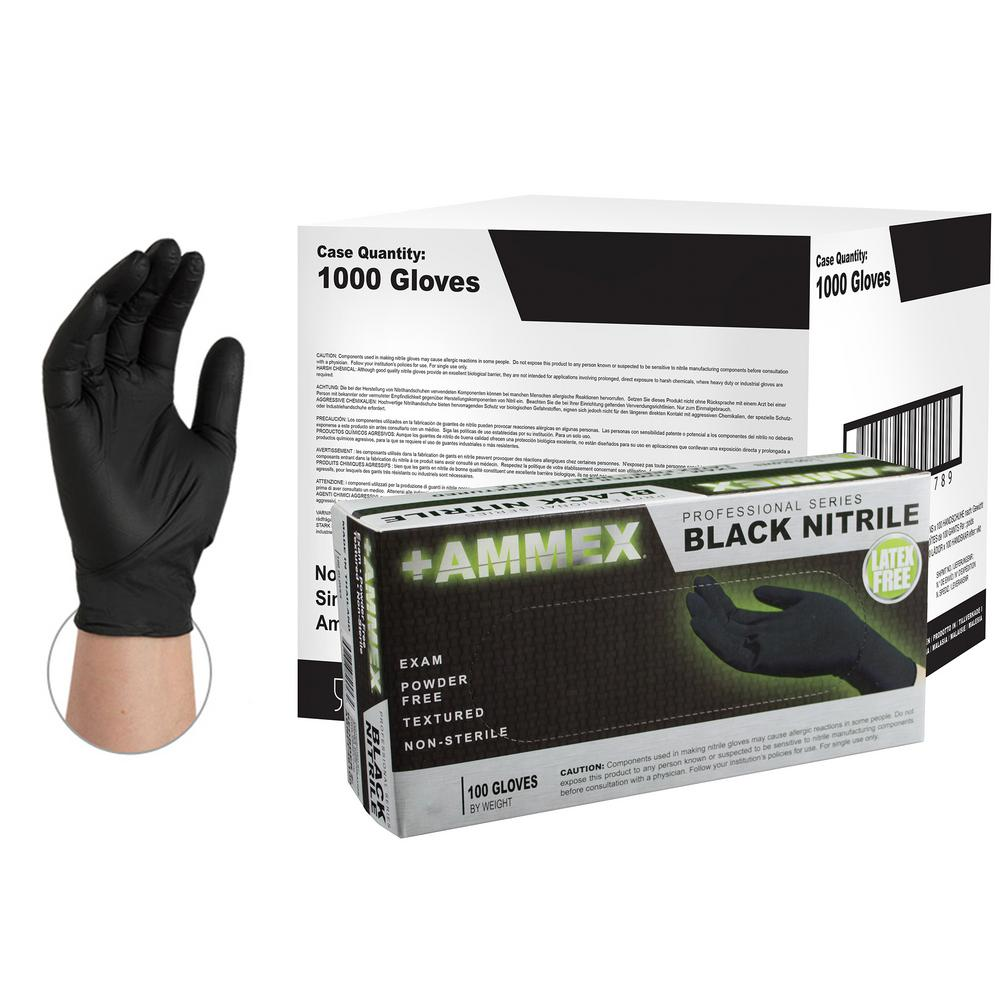 Black Nitrile Exam Powder-Free Disposable Gloves (10-Boxes of 100-Count) - Large
