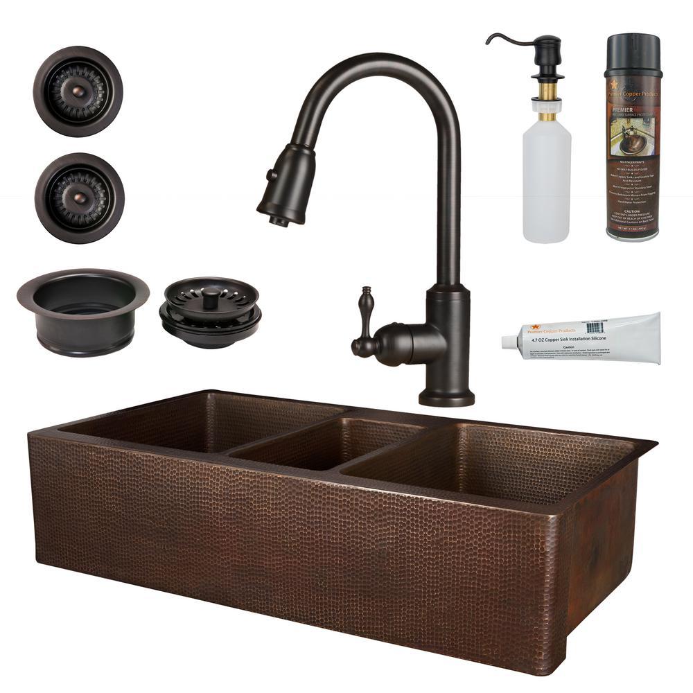 42 kitchen sink drainer premier copper products allinone 42 in triple bowl kitchen farmhouse