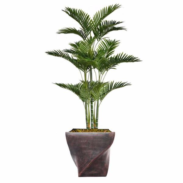 Laura Ashley 69.5 in. Tall Palm Tree Artificial Decorative Faux with Burlap Kit and Fiberstone Planter