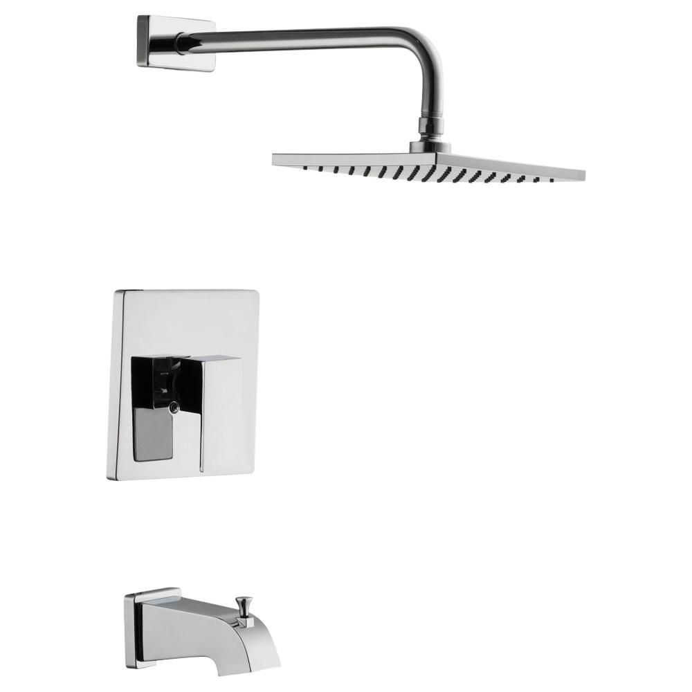 Glacier Bay Marx Single Handle 1-Spray Tub and Shower Faucet in Chrome (Valve Included)