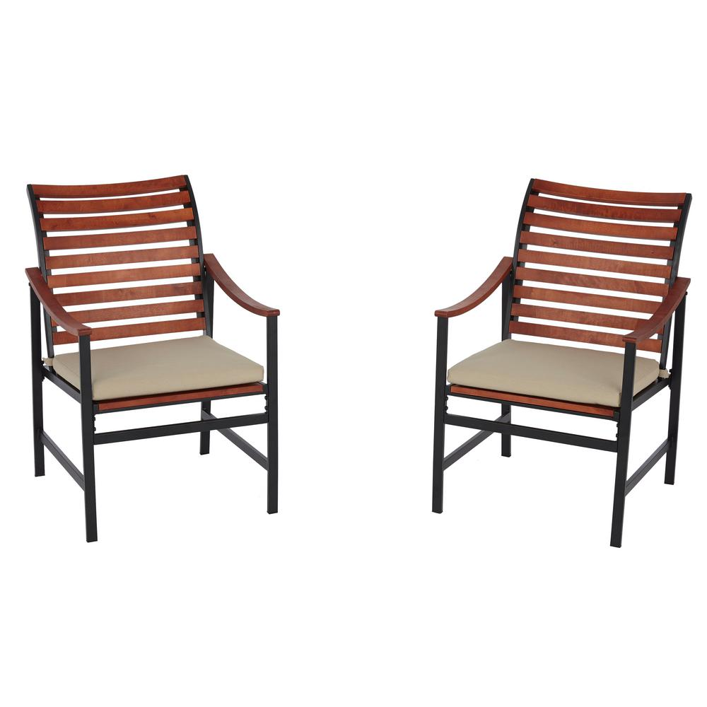 Hampton Bay Plaza Mayor Stationary Wood Outdoor Dining Chair with Cream Cushion (2-Pack)