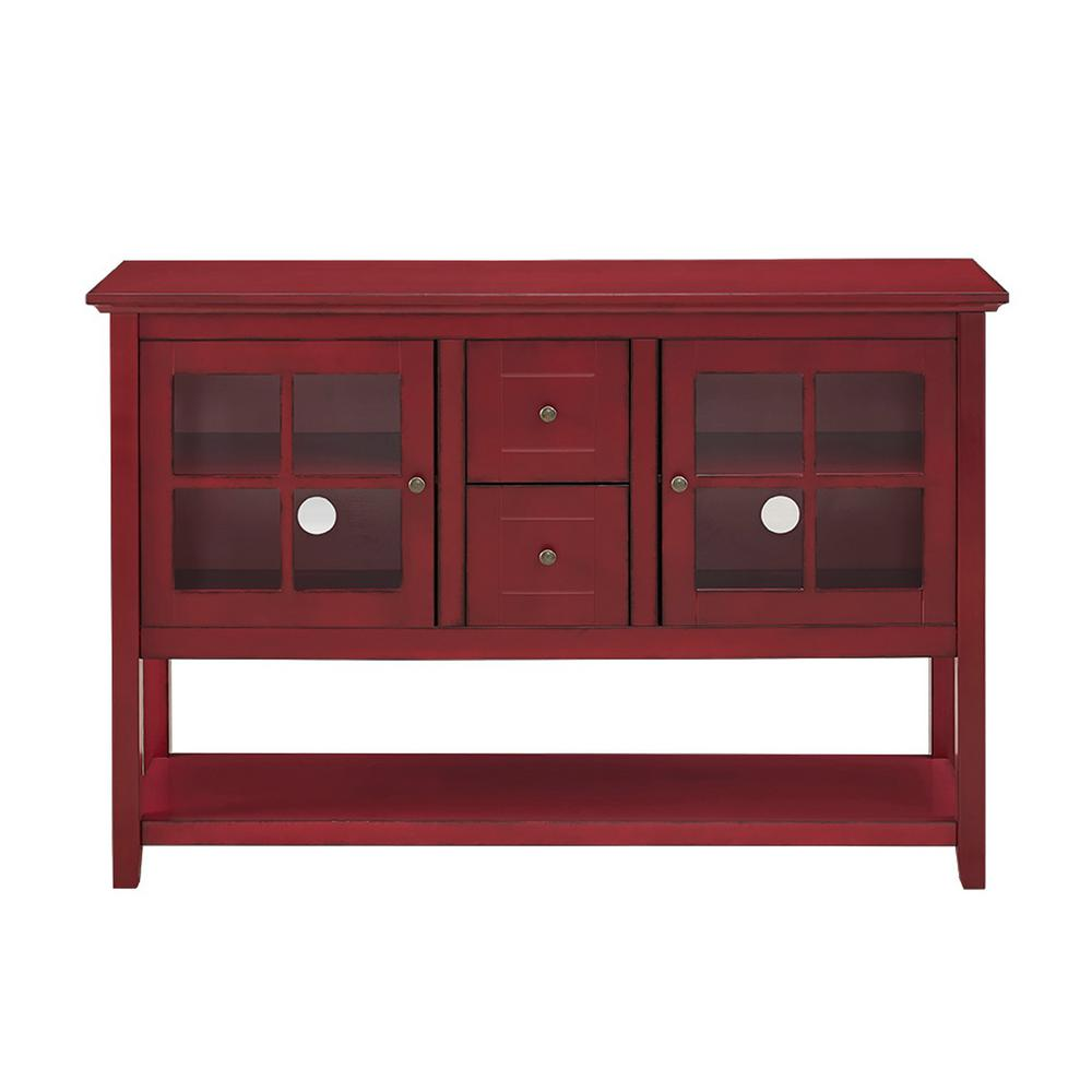 Walker Edison Furniture Company Antique Red Buffet With Storage