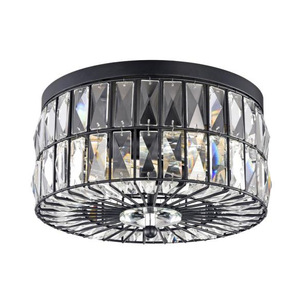 11.75 in. 2-Light Black Ceiling Flush Mount Light with Crystal Glass