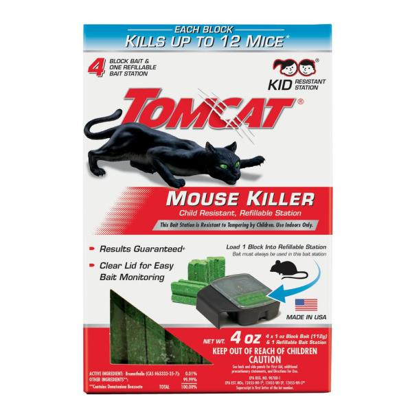 Mouse Killer Child Resistant Refillable Station, 1 Station with 4 Baits