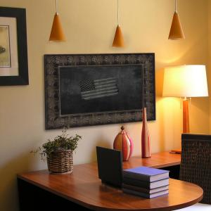 31 inch x 25 inch Feathered Accent Blackboard/Chalkboard by