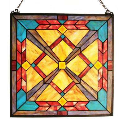 Multi-Colored Stained Glass Southwest Sunset Window Panel