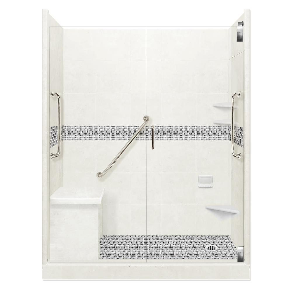 American Bath Factory Del Mar Freedom Grand Hinged 42 in. x 60 in. x 80 in. Right Drain Alcove Shower Kit in Natural Buff and Chrome Hardware