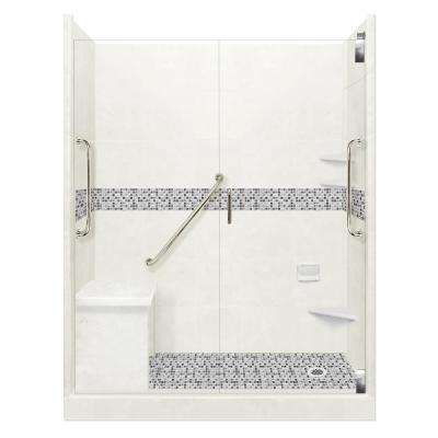 Del Mar Freedom Grand Hinged 32 in. x 60 in. x 80 in. Right Drain Alcove Shower Kit in Natural Buff and Satin Nickel