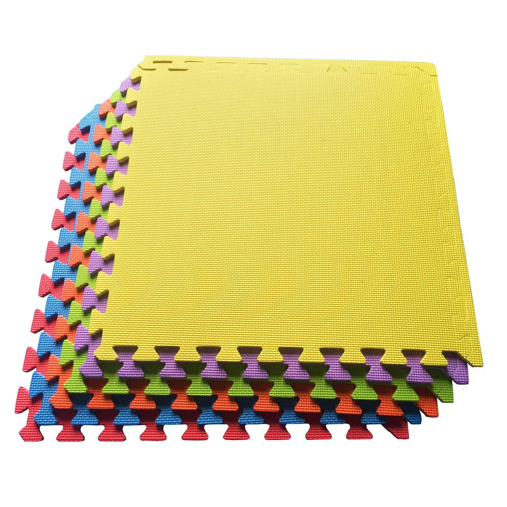Multi-Purpose Multi-Color 24 in. x 24 in. EVA Foam Interlocking Anti-Fatigue