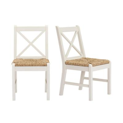 Dorsey Ivory Wood Dining Chair with Cross Back and Rush Seat (Set of 2) (17.72 in. W x 35.43 in. H)