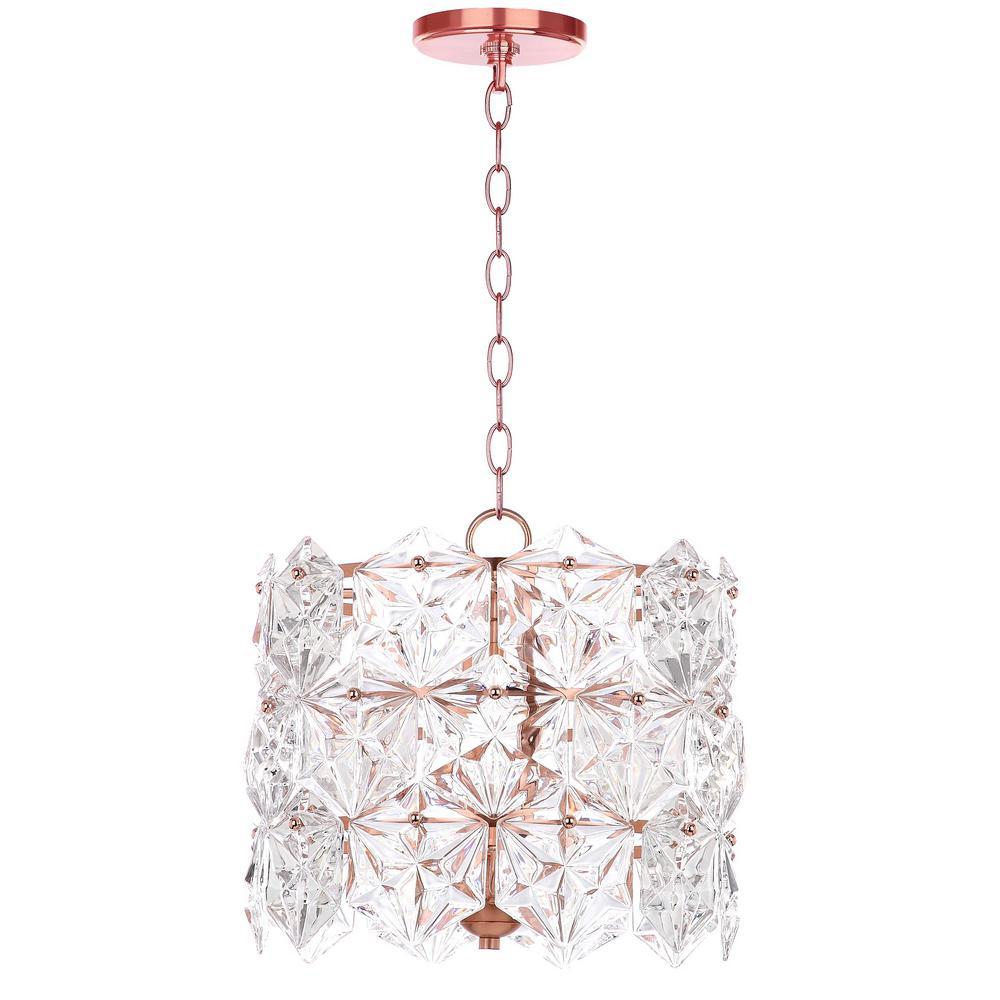 Sena 4-Light Clear/Copper Crystal Drum Pendant