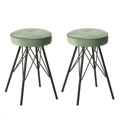 Eketahuna 20.4 in. Light Green Velvet Stools (Set of 2)
