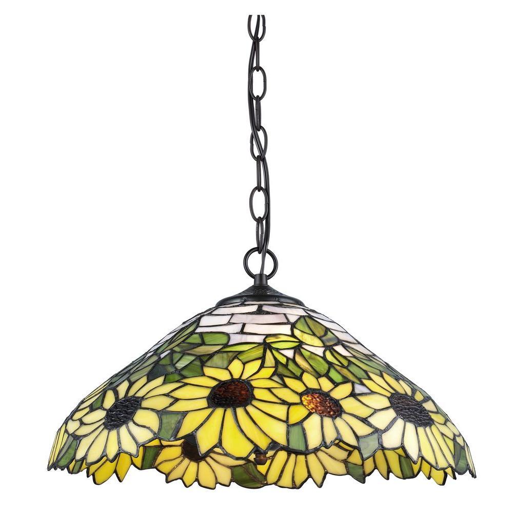 SerenaDitalia Serena D'italia Tiffany 2-Light Sunflower Bronze Hanging Lamp