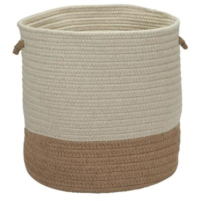 Sunbrella Caroline Round Indoor/Outdoor Basket Alpaca 11 in. x 11 in. x 7 in.