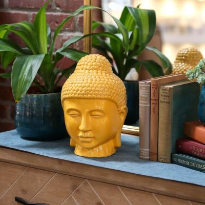 11 in. H Buddha Decorative Sculpture in Yellow Gloss Finish