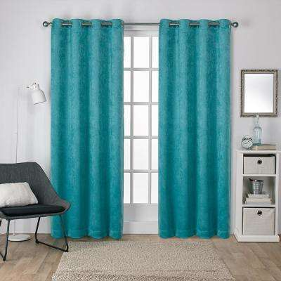 Antique Shantung 52 in. W x 108 in. L Woven Blackout Grommet Top Curtain Panel in Teal (2 Panels)